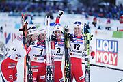 LAHTIS, FINLAND - 2017-03-04: Astrid Uhrenholdt Jacobsen Heidi Weng Marit Bjorgen och Ragnhild Haga under damernas 30 km mass start under FIS Nordic World Ski Championships den 4 mars , 2017 i Lahtis, Finland. Foto: Nils Petter Nilsson/Ombrello<br /> ***BETALBILD***