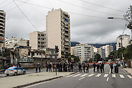 A significantly increased police presence is in evidence around the Maracana stadium before the 2014 FIFA World Cup match at Maracana Stadium, Rio de Janeiro, Brazil. This follows the storming of the Stadium Media Centre by Chilean fans earlier in the week. <br /> Picture by Andrew Tobin/Focus Images Ltd +44 7710 761829<br /> 22/06/2014
