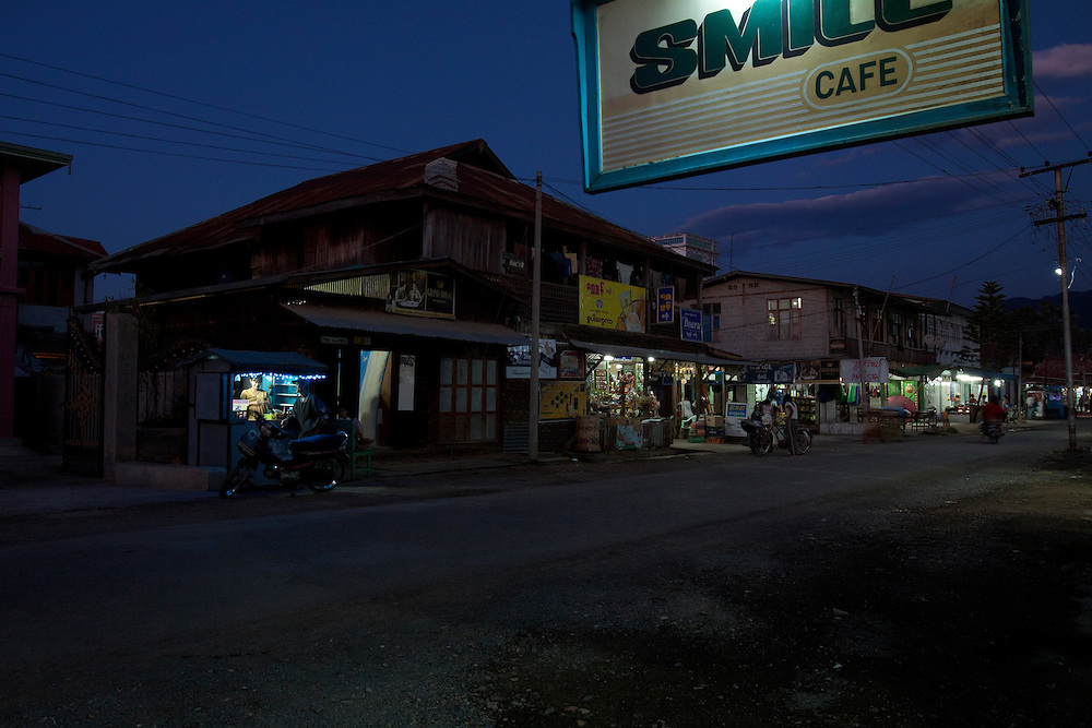 Night falls in the small town of Night falls in the small town of Nyaung Shwe by Inle lake in central Myanmar. by Inle lake in central Myanmar.