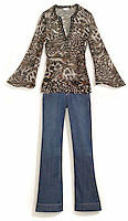 animal print shirt and jeans worn by jlo