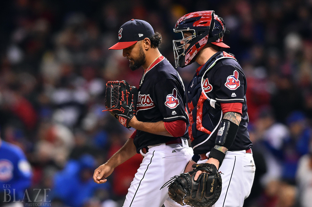 Oct 26, 2016; Cleveland, OH, USA; Cleveland Indians pitcher Danny Salazar (left) meets with catcher Roberto Perez in the 6th inning against the Chicago Cubs in game two of the 2016 World Series at Progressive Field. Mandatory Credit: Ken Blaze-USA TODAY Sports