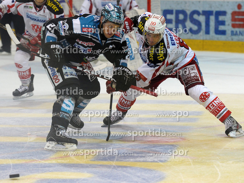 07.09.2012, Keine Sorgen Eisarena, Linz, AUT, EBEL, EHC Liwest Black Wings Linz vs EC KAC, 1. Runde, im Bild Philipp Lukas (EHC Liwest Black Wings Linz, #21) und Raphael Herburger (EC KAC, #89) during the Erste Bank Icehockey League 1st Round match between EHC Black Wings Linz and EC KAC at the Keine Sorgen Icearena, Linz, Austria on 2012/09/07. EXPA Pictures © 2012, PhotoCredit: EXPA/ Reinhard Eisenbauer