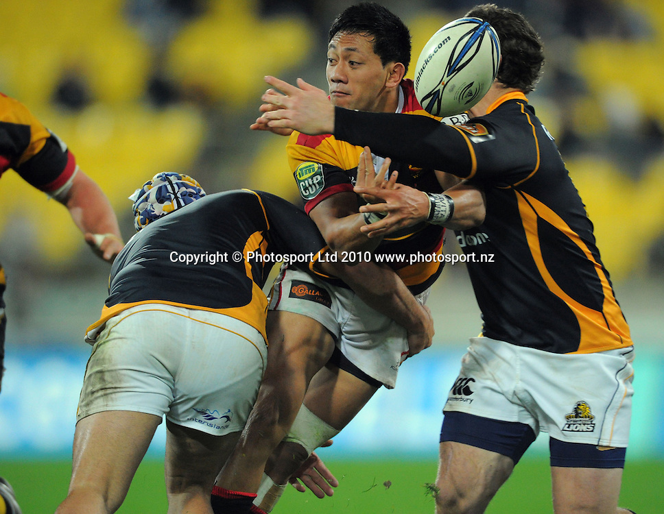 Waikato's Christian Lealiifano loses the ball in the tackle. ITM Cup rugby union - Wellington Lions v Waikato at Westpac Stadium, Wellington, New Zealand on Saturday, 21 August 2010. Photo: Dave Lintott/PHOTOSPORT