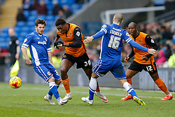 Kortney Hause of Wolverhampton Wanderers is challenged by Matthew Kennedy and Matthew Connolly of Cardiff City - Photo mandatory by-line: Rogan Thomson/JMP - 07966 386802 - 28/02/2015 - SPORT - FOOTBALL - Cardiff, Wales - Cardiff City Stadium - Cardiff City v Wolverhampton Wanderers - Sky Bet Championship.