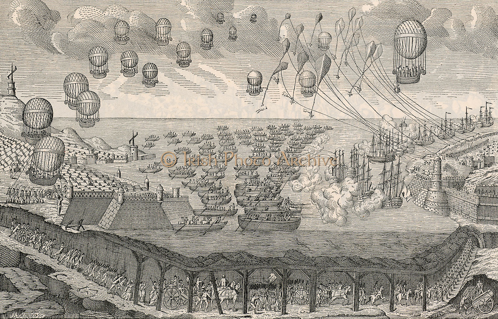 Print published in France in 1803 showing methods of invading England by air, sea, and tunnel. At the left by the harbour, and on the hill overlooking it, are Chappe telegraph towers. French troops are passing through a tunnel under the English Channel. Above them rowing boats full of French troopas are approaching England while, in the air, a fleet of balloons is transporting more troops.