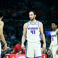 13 January 2018: Sacramento Kings center Kosta Koufos (41) is seen with Sacramento Kings forward Skal Labissiere (7) and Sacramento Kings guard De'Aaron Fox (5) during the LA Clippers 126-105 victory over the Sacramento Kings, at the Staples Center, Los Angeles, California, USA.