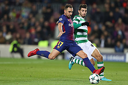 December 5, 2017 - Barcelona, Catalonia, Spain - PACO ALCACER of FC Barcelona kicks the ball under pressure from CRISTIANO PICCINI of Sporting CP during the UEFA Champions League, Group D football match between FC Barcelona and Sporting CP on December 5, 2017 at Camp Nou stadium in Barcelona, Spain. (Credit Image: © Manuel Blondeau via ZUMA Wire)