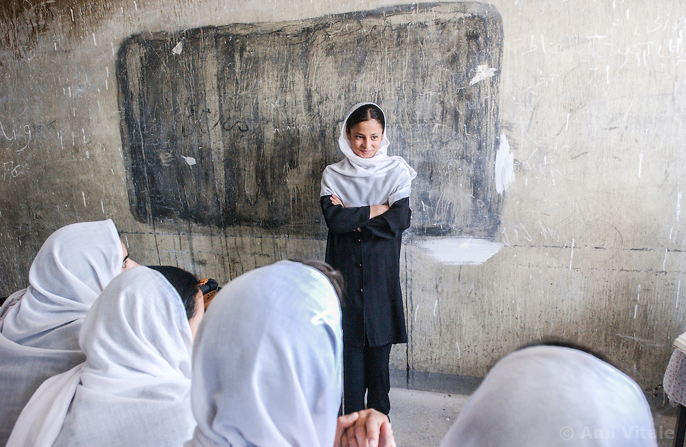 Women study at the Abul Qasim Fierdousi Girls secondary school  in Kabul, Afghanistan  August  08, 2002.    (photo by Ami Vitale)