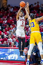 NORMAL, IL - December 07: Zach Copeland takes a long shot while defended by Jaden Stanley-Williams during a college basketball game between the ISU Redbirds and the Morehead State Eagles on December 07 2019 at Redbird Arena in Normal, IL. (Photo by Alan Look)