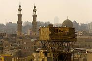 Egypt. Cairo elevated view.  - panoramic view and bab Zouweila gate minarets, view from Muhammad ABU DAHAB mosquee  . in islamic Cairo     NM98