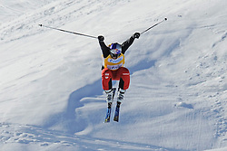 07.03.2014, Carmenna Extrempark, Arosa, SUI, FIS Weltcup Ski Cross, Arosa, im Bild Daniel Bohnacker (GER) am Zielsprung // during the FIS Ski Cross World Cup Carmenna Extrempark in Arosa, Switzerland on 2014/03/07. EXPA Pictures © 2014, PhotoCredit: EXPA/ Freshfocus/ Claudia Minder<br /> <br /> *****ATTENTION - for AUT, SLO, CRO, SRB, BIH, MAZ only*****