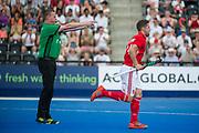 England's Mark Gleghorne scores from the penalty spot. England v Argentina - Hockey World League Semi Final, Lee Valley Hockey and Tennis Centre, London, United Kingdom on 18 June 2017. Photo: Simon Parker