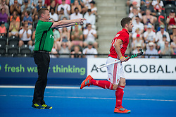 England's Mark Gleghorne scores from the penalty spot. England v Argentina - Hockey World League Semi Final, Lee Valley Hockey and Tennis Centre, London, United Kingdom on 18 June 2017. Photo: Simon Parker