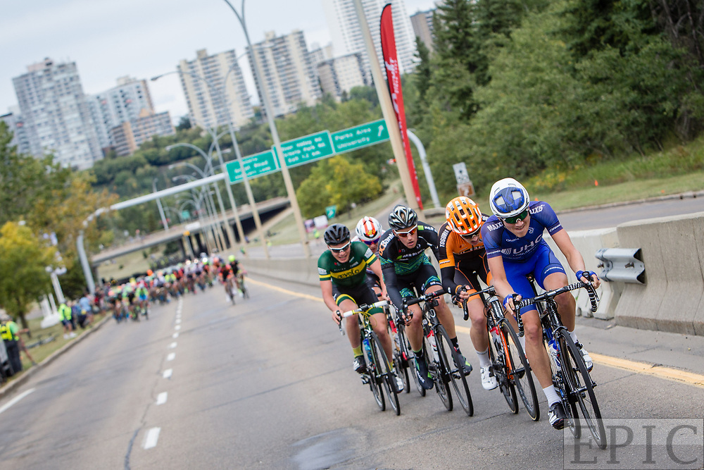 EDMONTON, ALBERTA, CAN - September 3: Alexander Cataford (UnitedHealthcare Pro Cycling) leads an attack during stage 3 of the Tour of Alberta on September 3, 2017 in Edmonton, Canada. (Photo by Jonathan Devich)