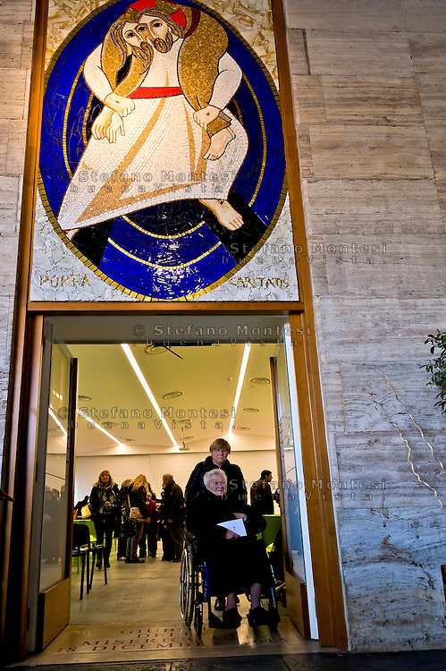 "ROME, ITALY - NOVEMBER 12:  Jubilee, closed Holy Door of Charity at Caritas hostel ""Don Luigi Di Liegro"". Cardinal Pope's vicar for the Diocese of Rome, Agostino Vallini, has chaired this morning's Mass for the closing of the Holy Door of Charity on November 12, 2016 in Rome, Italy. Open December 18, 2015 by Pope Francis - the first in the history of Jubilees that does not introduce in basilicas, cathedrals and churches,  was crossed by over 12 thousand pilgrims."