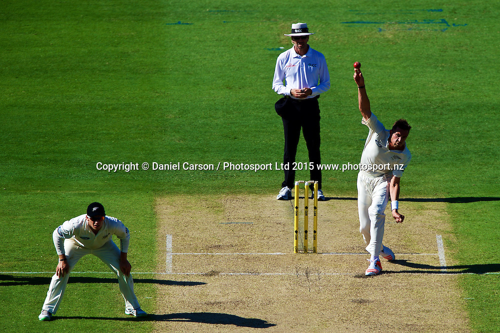 Tim Southee of the New Zealand Black Caps bowls to Usman Khawaja of Australia during Day 1 on the 13th of November 2015. The New Zealand Black Caps tour of Australia, 2nd test at the WACA ground in Perth, 13 - 17th of November 2015.   Photo: Daniel Carson / www.photosport.nz
