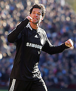 Chelsea midfielder Michael Ballack celebrates victory after the Barclays Premier League match between Aston Villa and Chelsea at Villa Park on February 21, 2009 in Birmingham, England.