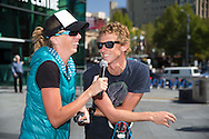Steff Hanson and Luke Bell (AUS), March 19, 2014 - Ironman Triathlon : Steff Hanson interviews Luke Bell. Tougher Than An IRONMAN, Federation Square, Melbourne, Victoria, Australia. Credit: Lucas Wroe