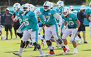 Miami Dolphins defensive players Jamiyus Pittman (65) Christian Wilkins (97) and Andrew Van Ginkel (43) warm up before practice during Minicamp at the Baptist Health Training Facility at Nova Southeastern University, Tuesday, August 6, 2019, in Davie, Fla. (Kim Hukari/Image of Sport)