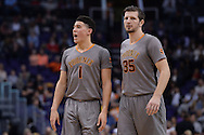 Feb 4, 2016; Phoenix, AZ, USA;  Phoenix Suns guard Devin Booker (1) and forward Mirza Teletovic (35) in the game against the Houston Rockets at Talking Stick Resort Arena. Mandatory Credit: Jennifer Stewart-USA TODAY Sports