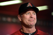 Apr 23, 2016; Phoenix, AZ, USA; Arizona Diamondbacks bench coach Glenn Sherlock (53) smiles from the dugout in the game against the Pittsburgh Pirates at Chase Field. Mandatory Credit: Jennifer Stewart-USA TODAY Sportks