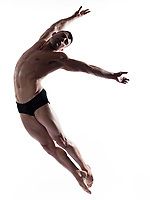 caucasian man gymnastic  isolated studio on white background