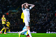 Leeds United defender Stuart Dallas (15) reacts during the EFL Sky Bet Championship match between Leeds United and Millwall at Elland Road, Leeds, England on 28 January 2020.