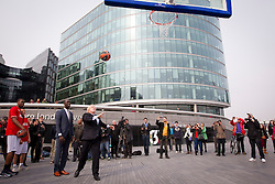 © Licensed to London News Pictures. 08/04/2013. London, UK. Boris Johnson, the Mayor of London, is seen 'shooting hoops' in London today (08/04/2013) as he plays basketball during press call promoting the 2013 Turkish Airlines Euroleague Basketbal tour taking place at the O2. Photo credit: Matt Cetti-Roberts/LNP