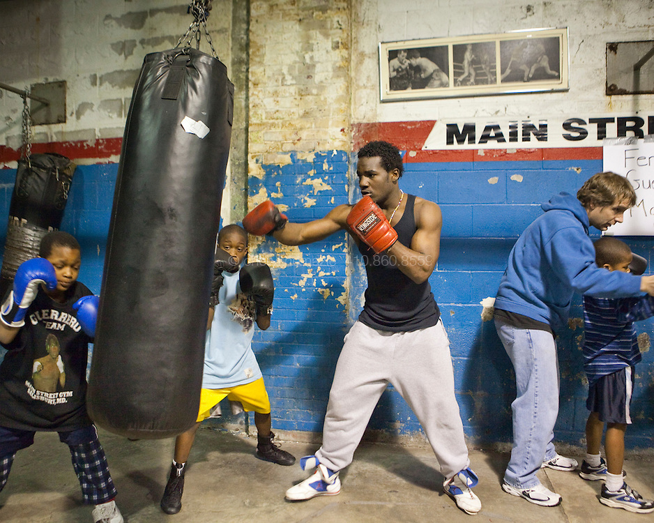 Fernando Guerrero trains with young boxers at Main Street Gym in Salisbury, Maryland.