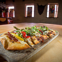 Grilled vegetable flatbread (coca) from Barcelona at Sevilla Restaurant and Tapas Bar in Riverside , April 26, 2015.  (Eric Reed/Riverside Magazine)