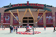 ANAHEIM, CA - MAY 14:  A tribute to Nick Adenhart #34 of the Los Angeles Angels of Anaheim rests outside the entrance to the stadium prior to the game against the Boston Red Sox at Angel Stadium in Anaheim, California on Thursday, May 14, 2009.  The Angels defeated the Red Sox 5-4 in 12 innings.  (Photo by Paul Spinelli/MLB Photos)