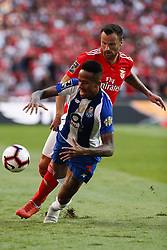 October 7, 2018 - Lisbon, Portugal - Haris Seferovic of Benfica  (R) vies for the ball with Eder Militao of Porto during the Portuguese League football match between SL Benfica and FC Porto at Luz Stadium in Lisbon on October 7, 2018. (Credit Image: © Carlos Palma/NurPhoto/ZUMA Press)