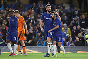 Olivier Giroud of Chelsea (18) celebrating after scoring goal to make it 2-0 during the Champions League group stage match between Chelsea and PAOK Salonica at Stamford Bridge, London, England on 29 November 2018.