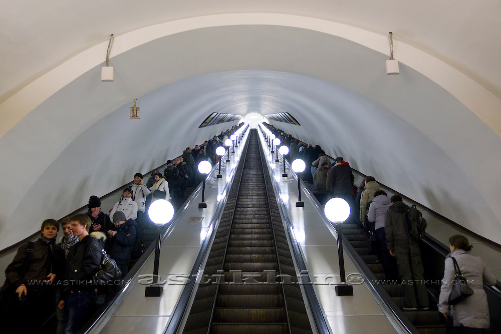 Escalator in Moscow metro station.