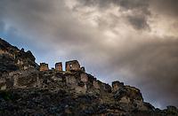 OLLANTAYTAMBO, PERU - CIRCA OCTOBER 2015:  Archaeological site Pinkuylluna in Ollantaytambo, a small village in the Cusco region known as Sacred Valley