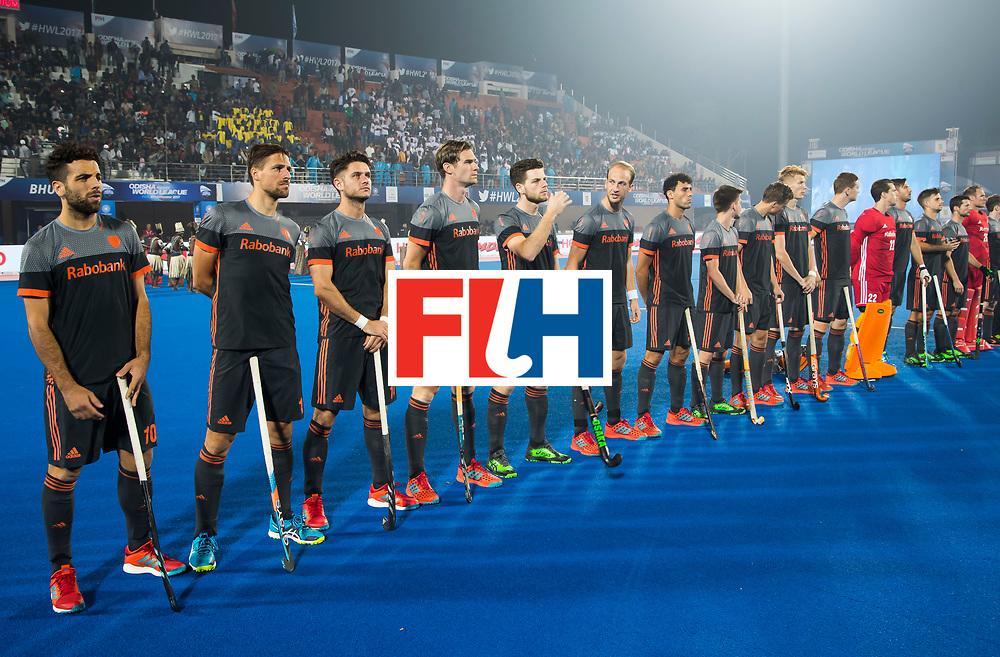 BHUBANESWAR - Line up Oranje tijdens de Hockey World League Final wedstrijd Belgie-Nederland. COPYRIGHT KOEN SUYK