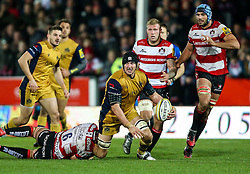 Mark Sorenson of Bristol Rugby is tackled by Lewis Ludlow of Gloucester Rugby - Rogan Thomson/JMP - 03/12/2016 - RUGBY UNION - Kingsholm Stadium - Gloucester, England - Gloucester Rugby v Bristol Rugby - Aviva Premiership.