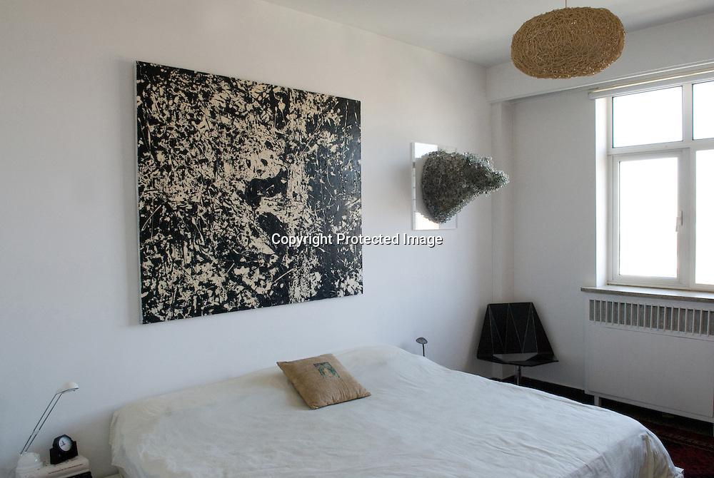 Meg Maggio's Beijing home. The glass beads wild boar is by Japanese artist  Kohei Nawa.