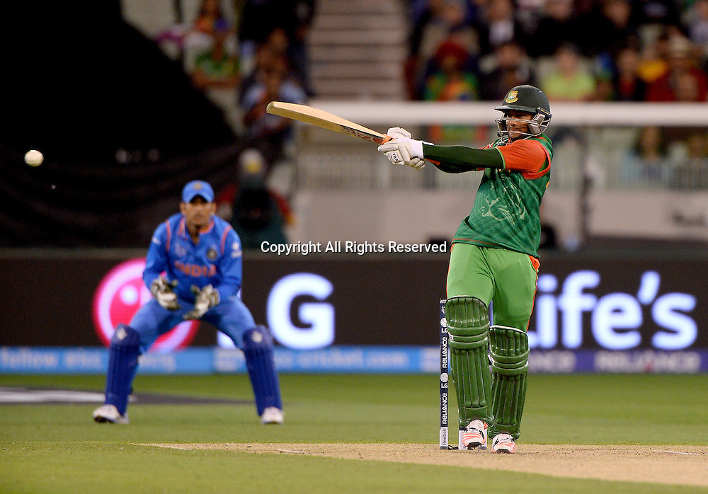Sakib Al Hasan (Bang)<br /> India vs Bangladesh / Qtr Final 2<br /> 2015 ICC Cricket World Cup<br /> MCG / Melbourne Cricket Ground <br /> Melbourne Victoria Australia<br /> Thursday 19 March 2015<br /> &copy; Sport the library / Jeff Crow