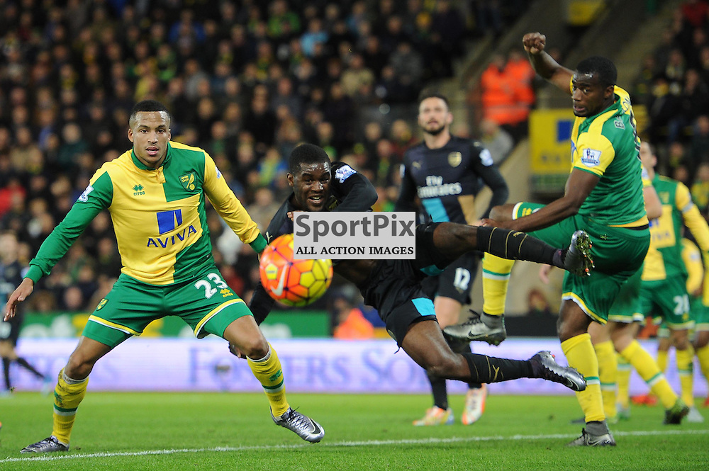 Arsenals Joel Campbell in action during the Norwich v Arsenal game in the Barclays Premier League on Sunday 29th November 2015 at Carrow Road