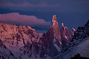 Sunrise light on Cerro Torre in the Southern Andes, Patagonia, Argentina, South America