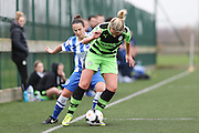 Forest Green's Charlotte King battles with Brighton's Charley Boswell during the FA Women's Premier League match between Forest Green Rovers Ladies and Brighton Ladies at the Hartpury College, United Kingdom on 24 January 2016. Photo by Shane Healey.