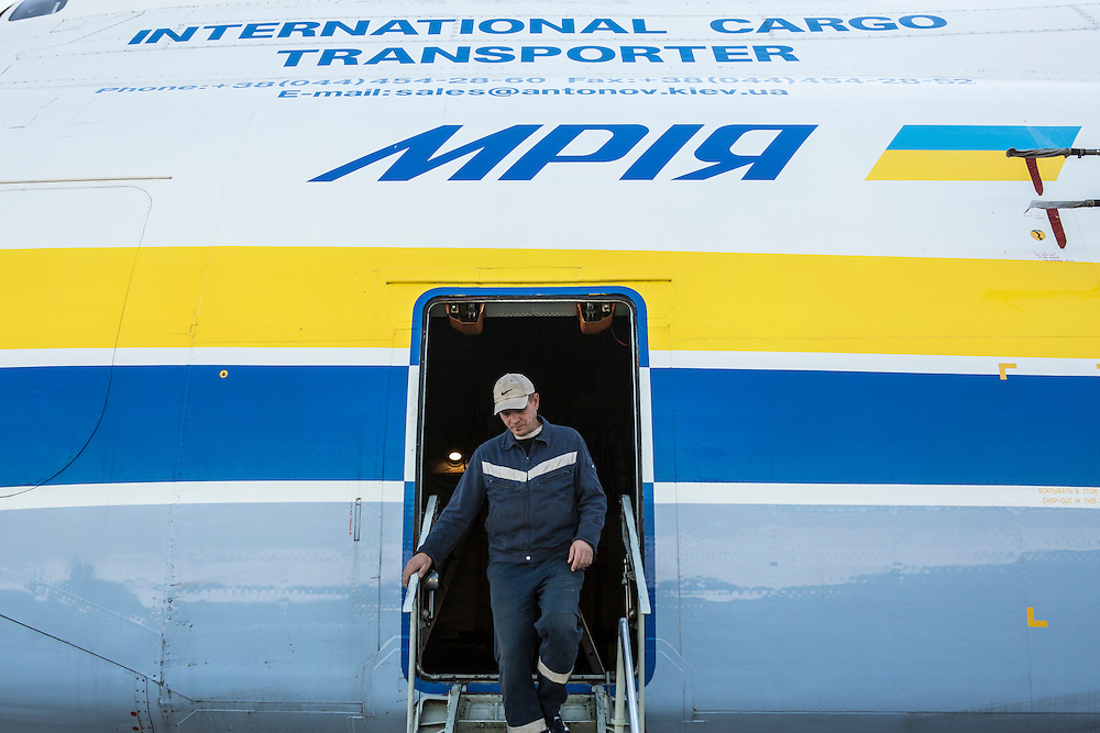 GOSTOMEL, UKRAINE - OCTOBER 1, 2014: A maintenance worker exists the Antonov AN-225, the longest and heaviest airplane ever built, on an airfield in Gostomel, outside Kiev, Ukraine. CREDIT: Brendan Hoffman for The New York Times