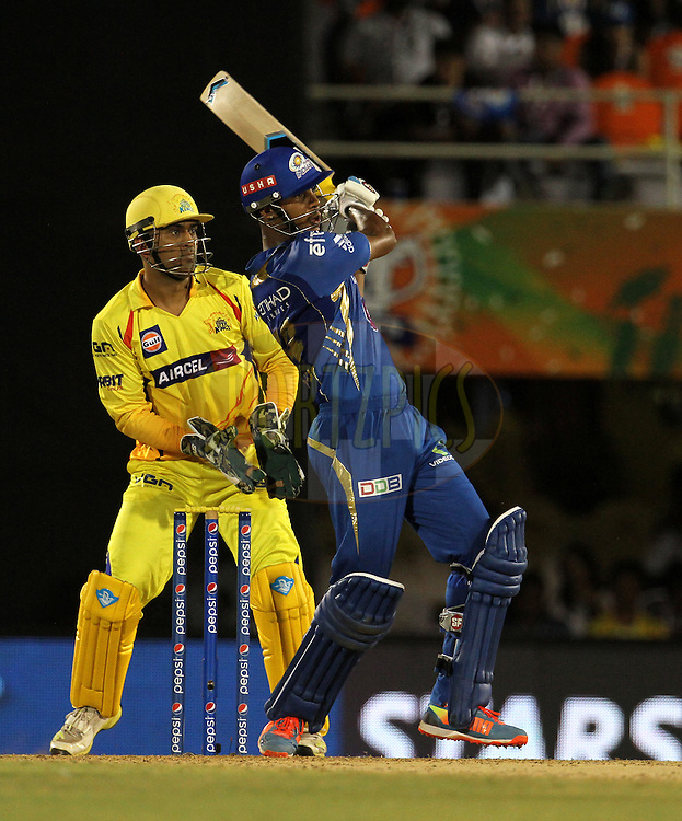 Lendl Simmons of the Mumbai Indians plays a shot during the eliminator match of the Pepsi Indian Premier League Season 2014 between the Chennai Superkings and the Mumbai Indians held at the Brabourne Stadium, Mumbai, India on the 28th May  2014<br /> <br /> Photo by Vipin Pawar / IPL / SPORTZPICS<br /> <br /> <br /> <br /> Image use subject to terms and conditions which can be found here:  http://sportzpics.photoshelter.com/gallery/Pepsi-IPL-Image-terms-and-conditions/G00004VW1IVJ.gB0/C0000TScjhBM6ikg