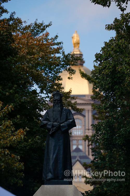 SOUTH BEND, IN - OCTOBER 15: General view of the Fr Sorin statue on the Notre Dame campus seen before the game against the Stanford Cardinal at Notre Dame Stadium on October 15, 2016 in South Bend, Indiana. Stanford defeated Notre Dame 17-10. (Photo by Michael Hickey/Getty Images)