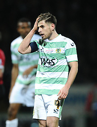 Yeovil Town's Joe Edwards reacts after going close with a diving header  - Photo mandatory by-line: Joe meredith/JMP - Mobile: 07966 386802 - 04/01/2015 - SPORT - football - Yeovil - Huish Park - Yeovil Town v Manchester United - FA Cup - Third Round