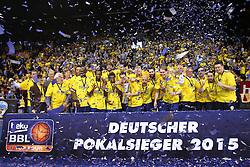 12.04.2015, Brose Arena, Bamberg, GER, Beko Basketball BL, Brose Baskets Bamberg vs EWE Baskets Oldenburg, Top Four 2015, Finale, im Bild Deutscher Pokalsieger 2015 // during the Beko Basketball Bundes league TOP FOUR 2015 final match between Brose Baskets Bamberg and EWE Baskets Oldenburg at the Brose Arena in Bamberg, Germany on 2015/04/12. EXPA Pictures &copy; 2015, PhotoCredit: EXPA/ Eibner-Pressefoto/ Langer<br /> <br /> *****ATTENTION - OUT of GER*****