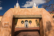 San Felipe de Neri Church historic adobe style Catholic church in the Old Town Plaza December 14, 2015 in Albuquerque, New Mexico.