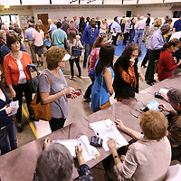 Adam Robison | BUY AT PHOTOS.DJOURNAL.COM<br /> Tupelo and Lee County residents pack the gym at Bissell Baptist Church to vote on Tuesday morning.