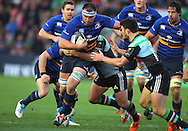 George Lowe ( 2nd R ) of Harlequins challenges Dominic Ryan ( 2nd L ) of Leinster during the European Rugby Champions Cup match at Twickenham Stoop , London<br /> Picture by Paul Terry/Focus Images Ltd +44 7545 642257<br /> 07/12/2014